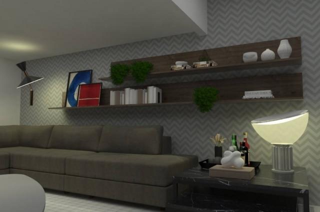 Para equilibrar a composição, abajur foi posicionado na outra extermidade do sofá